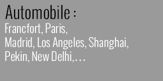 Automobile : Francfort, Paris, Madrid,Los Angeles, Shanghai, Pekin, New Delhi